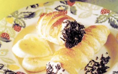 Cornete umplute cu crema de banane