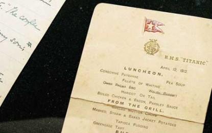 Peste 90 de mii de euro pentru meniul ultimei mese de pe Titanic