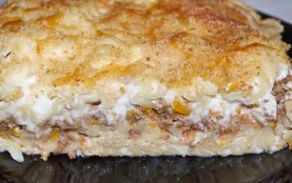 Paste cu carne gratinate la cuptor