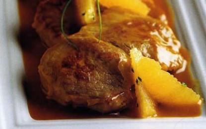 Friptură de vițel cu sos de portocale