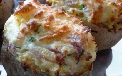 Cartofi umpluți cu șuncă și șvaițer, la cuptor