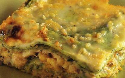 Lasagna verde cu pește și nuci