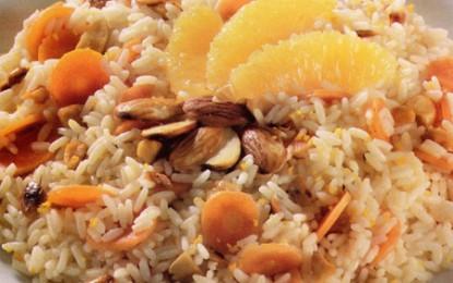 Rizoto cu morcovi, portocale și migdale