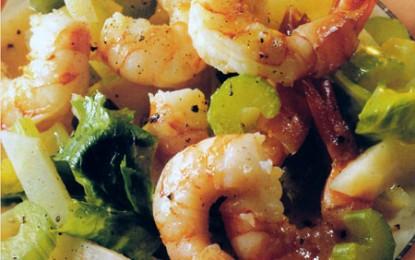 Salată caldă de creveți cu două țeline