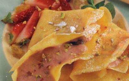 Clătite de mango cu cremă de căpșune